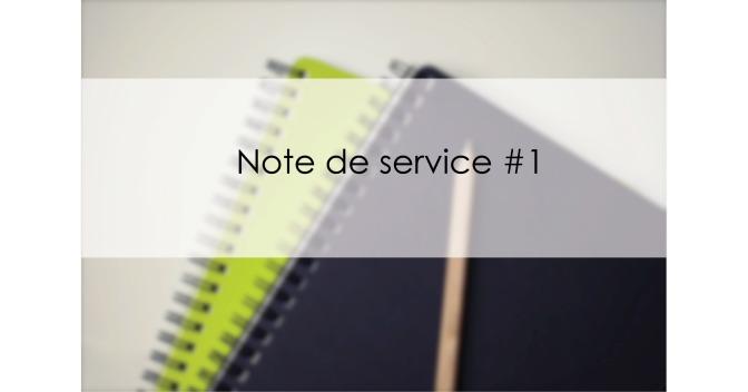 Note de service #1 – Introduction